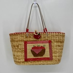 CHEROKEE Straw Weave Apple Country Lined Tote